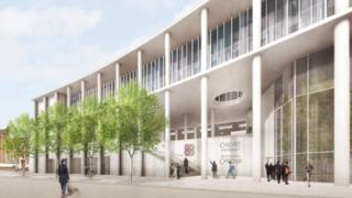 An artist's impression of the front of the building