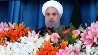 Iranian president Hassan Rouhani speaks during a ceremony marking annual National Army Day in Tehran (18 April 2017)