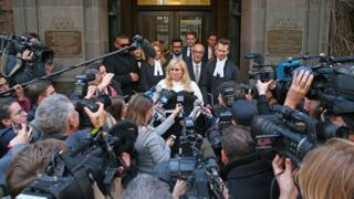 Australian actress Rebel Wilson speaks out the front of the Victorian Supreme Courton