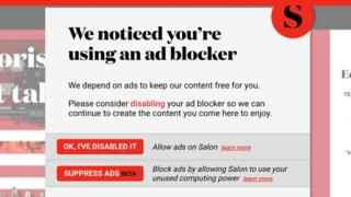 Salon prompts readers to make a choice between viewing ads or mining cryptocurrency
