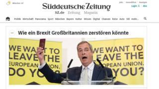 The online front page of the German newspaper Sueddeutsche Zeitung shows Nigel Farage brandishing a UK passport.
