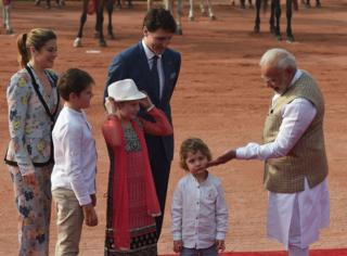 Narendra Modi with Justin Trudeau and his family at the Presidential Palace in New Delhi on February 23, 2018.