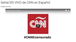 the CNN Espanol logo with the hashtag #CNNEcensurado (#CNNEcensored)