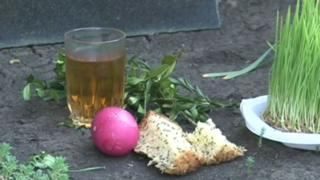 Offerings at a Georgian grave