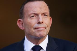 Tony Abbott addresses media for the last time as Prime Minister at Parliament House on September 15, 2015 in Canberra, Australia.
