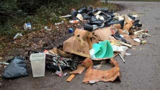 Piles of household waste