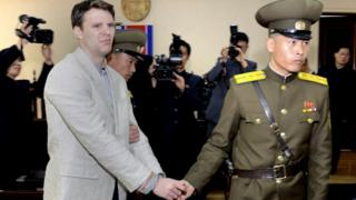 Otto Warmbier at his trial, March 2016