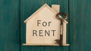 Rent sign and key