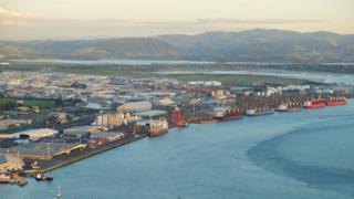 Aerial view of the port of Tauranga
