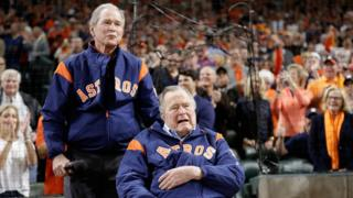 Former United States Presidents George W Bush and George HW Bush speak to the crowd before game five of the 2017 World Series