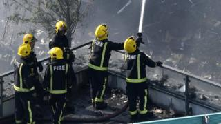 Fire crews at Grenfell Tower on 14 June 2017