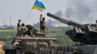 Українські військові біля Лисичанська, 25 липня 2014 року.