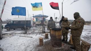 Ukrainian activists involved in trade blockade, 14 Feb 17