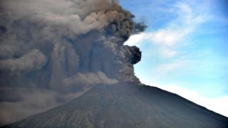 Large plumes of smoke pictured around Mount Agung on Bali on Sunday morning