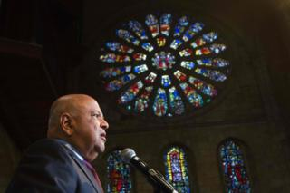 "Pravin Gordhan, the recently dismissed South African Minister of Finance, speaks at a memorial service for recently deceased anti-apartheid activist Ahmed Kathrada at St George""s Cathedral in Cape Town on April 6"