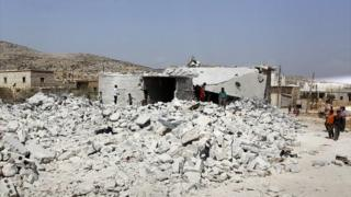 Site of alleged air strike in Idlib by anti-IS US-led coalition