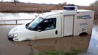 Essex and Suffolk Water van stuck