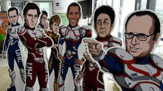 Superhero cardboard cut-outs of the G7 leaders at the group's summit in Ise, Japan, in May 2016.