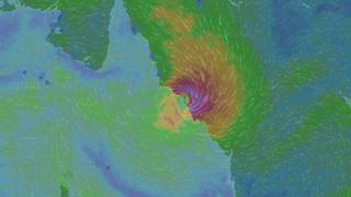 Screenshot of WindyTV sat image of Cyclone Debbie 28 March 2017