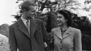Елизавета и Филип во время медового месяца