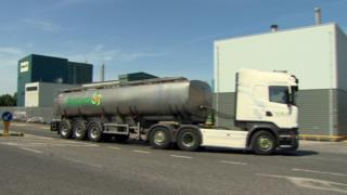 A tanker load of milk arrives at Aurivo's Co Roscommon plant