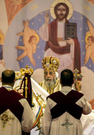 Egypt Coptic Pope Tawadros II leads the Christmas Eve mass at the Nativity of Christ Cathedral in Egypt's futur administrative capital, 45 kms east of Cairo, on January 6, 2018. Coptic Orthodox Christians packed the newly built Nativity of Christ Cathedral for a Christmas Eve mass after a bloody year for the minority singled out by jihadists for attacks.