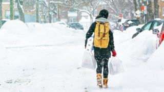 Woman carrying shopping in the snow