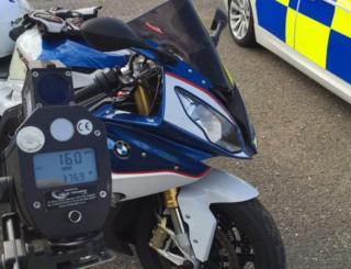 Motorbike caught speeding in Cambridgeshire