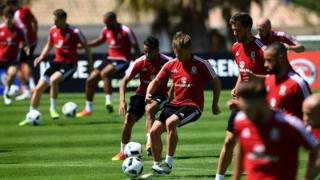 Wales players training in Portugal