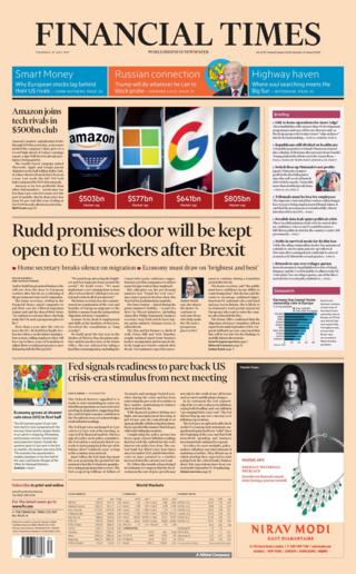 Financial Times front page - 27/07/17