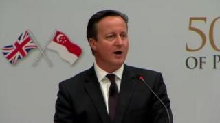 David Cameron speaking in Singapore