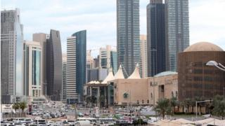 This photo taken on 24 November, 2015 shows skyscrapers in the Qatari capital Doha.