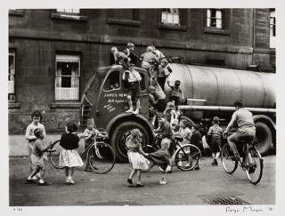 Children playing on a lorry, Glasgow, 1958.