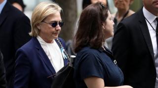 Hillary Clinton alipokuwa anawasili kwa sherehe za kukumbuka shambulio la 9/11