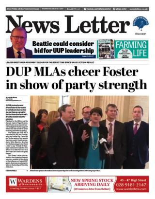 The front page of the News Letter on Wednesday