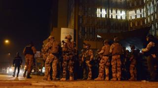 French special forces outside the Hotel Splendid in Ouagadougou