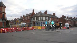 Road closures in Wrexham following gas leak