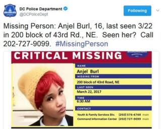 """Missing person: Angel Burl, 16"""