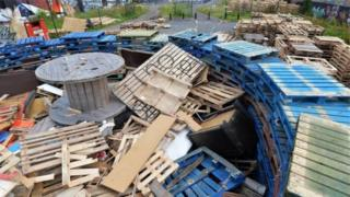 Pallets used in last year's bonfire at Chobham Street