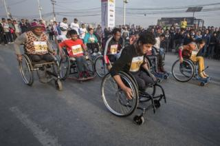 Ramesh Kitra in a wheelchair race