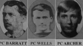 Pictures of three police officers, PCs Barrett, Wells and Archer