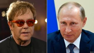 Sir Elton John and Russian President Vladimir Putin