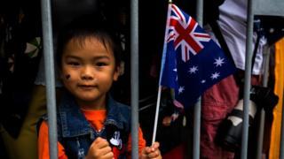 Melbournians enjoy the Australia Day Parade in Swanston St Melbourne on January 26, 2017 in Melbourne, Australia.