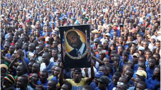 Thousands of supporters of the Congress for Democratic Change (CDC) party petition former Liberian soccer player and current Senator George Weah to contest Liberia's Presidential elections