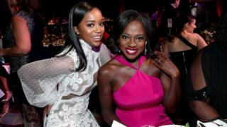 Aja Naomi King and Viola Davis at the Black Women in Hollywood Awards