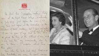 Queen's handwritten letter and Queen Elizabeth II and the Duke of Edinburgh