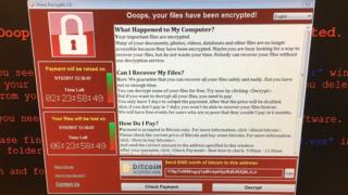 computer screen with ransomware message