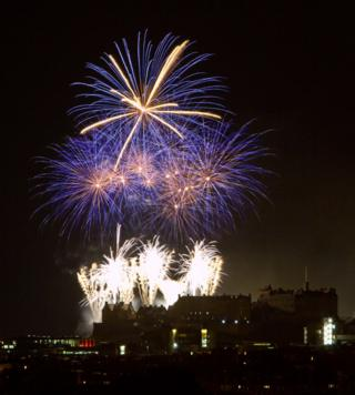 Jarlath Flynn from Edinburgh enjoyed the fireworks from the roof of his home in Kingsknowe.