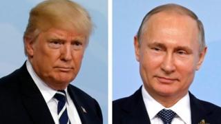 Prezida Trump wa Amerika na Vladimir Putin