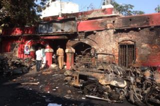 Burnt vehicles during Monday's protests